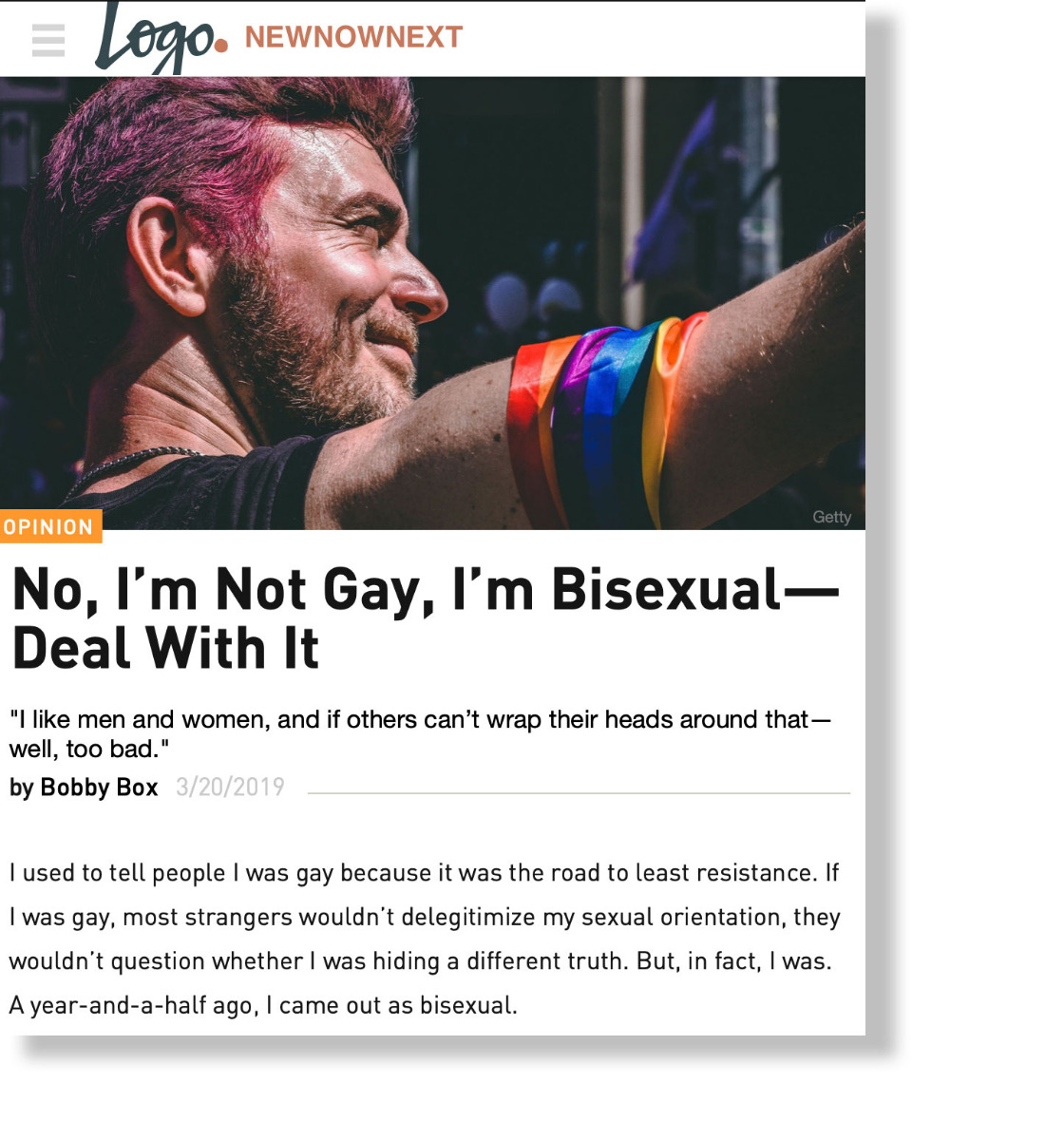 No, I'm Not Gay, I'm Bisexual—Deal With It on NewNowNext