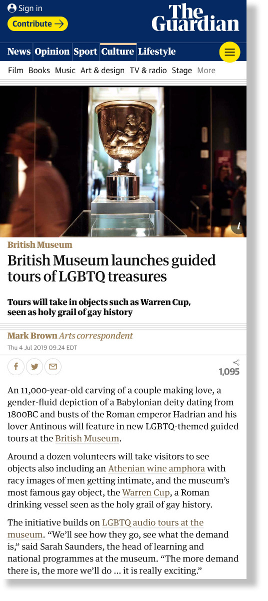 British Museum launches guided tours of LGBTQ treasures