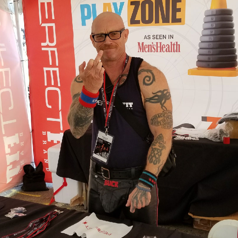 Buck Angel at the Perfect Fit Brand booth at Folsom