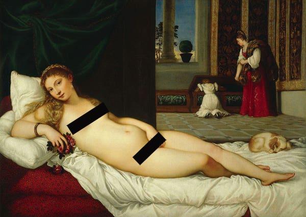 Censored Titian Venus of Urbino