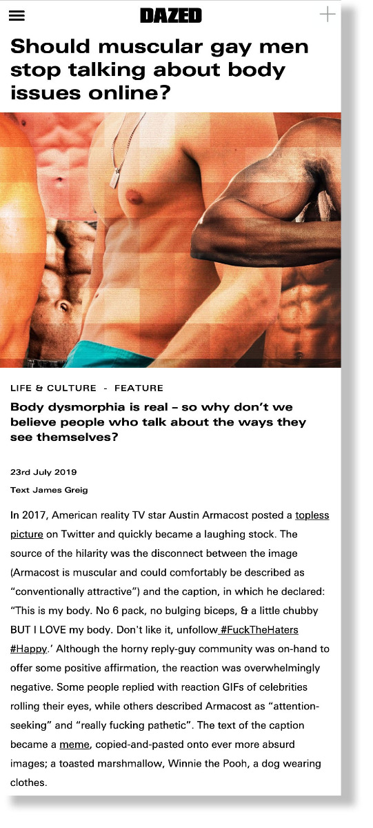 Should muscular gay men stop talking about body issues online? - DAZED