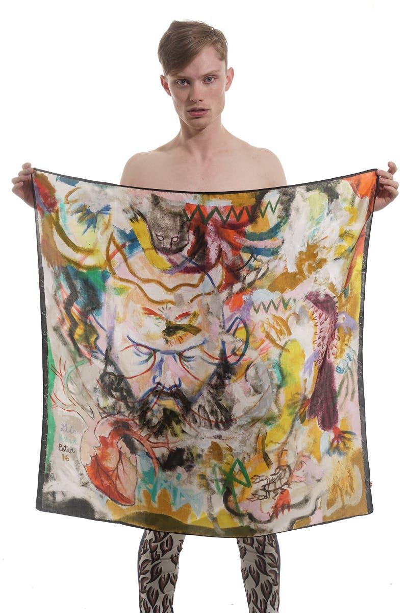 Walter Van Bierendonck scarf featuring Gio Black Peter print at Elkel NYC
