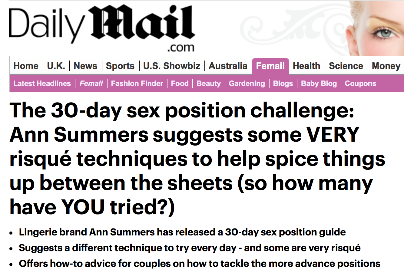 Daily Mail Ann Summers headline
