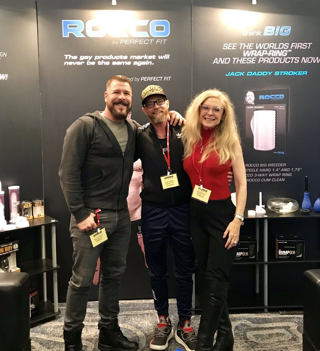 Rocco Steele Buck Angel Nina Hartley at ANME Perfect Fit Brand booth