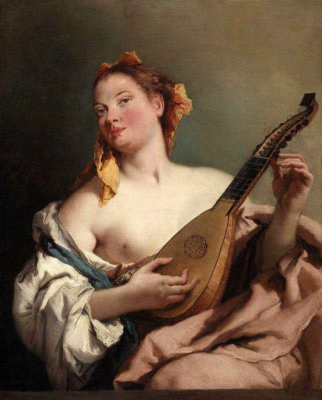 Girl with Mandolin by Giovanni Battista Tiepolo