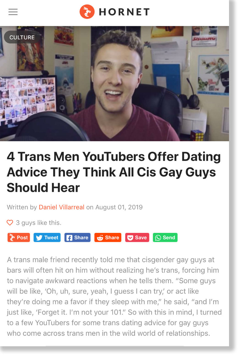 Hornet Stories: 4 Trans Men YouTubers Offer Dating Advice They Think All Cis Gay Guys Should Hear