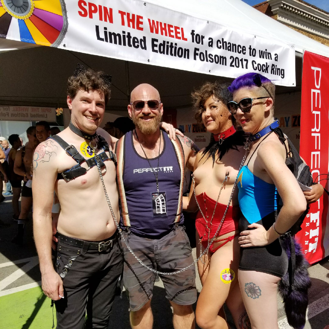 Kit Steve Anna Ash at the Perfect Fit Brand booth at Folsom Street Fair
