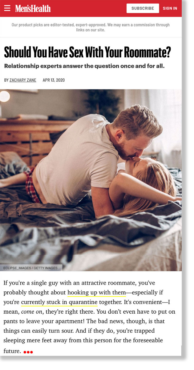 Men's Health Should you have sex with your roommate?