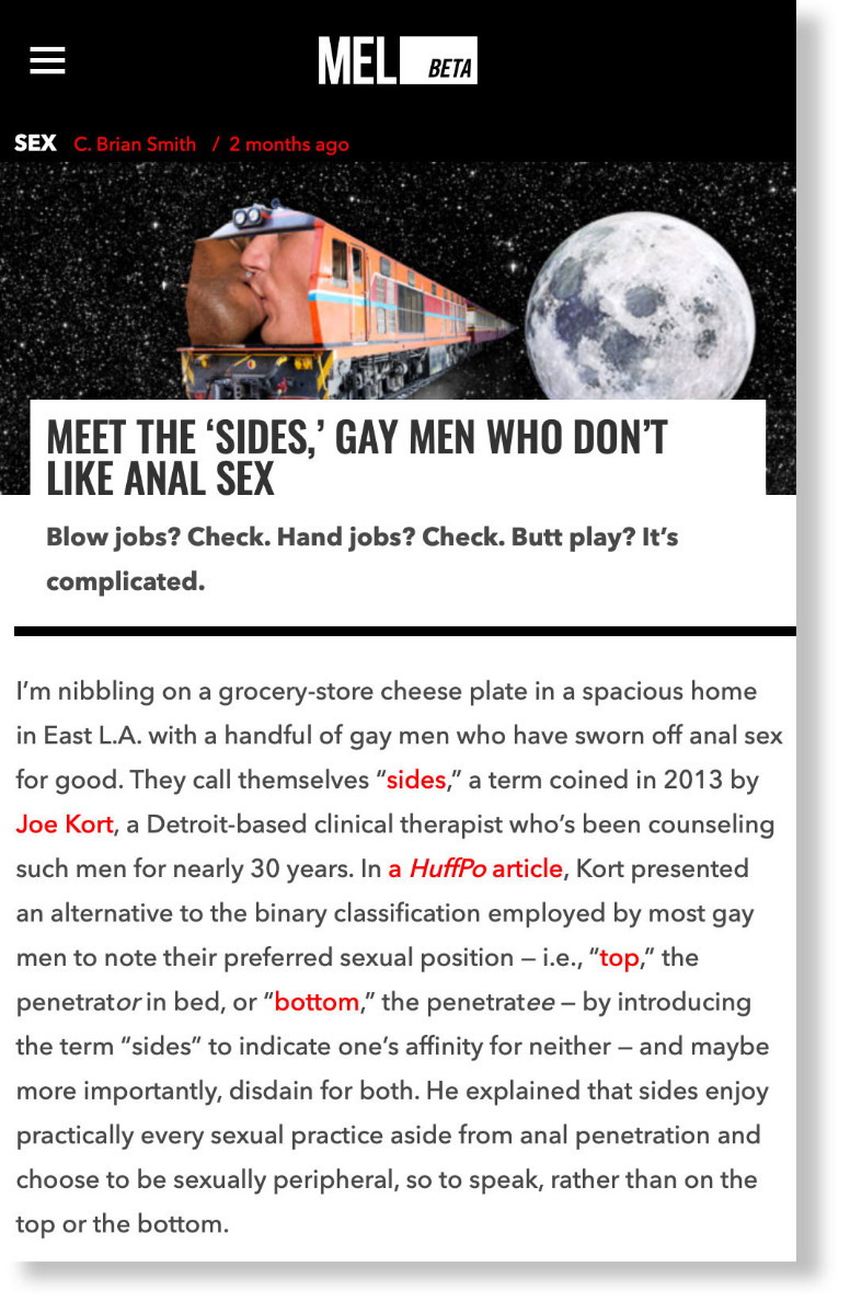 """Meet The """"Sides,"""" Gay Men Who Don't Like Anal Sex - MEL Magazine"""