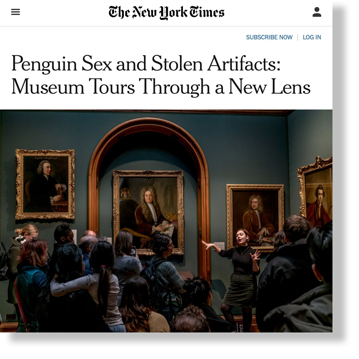NYTimes Penquin Sex and Stolen Artifacts
