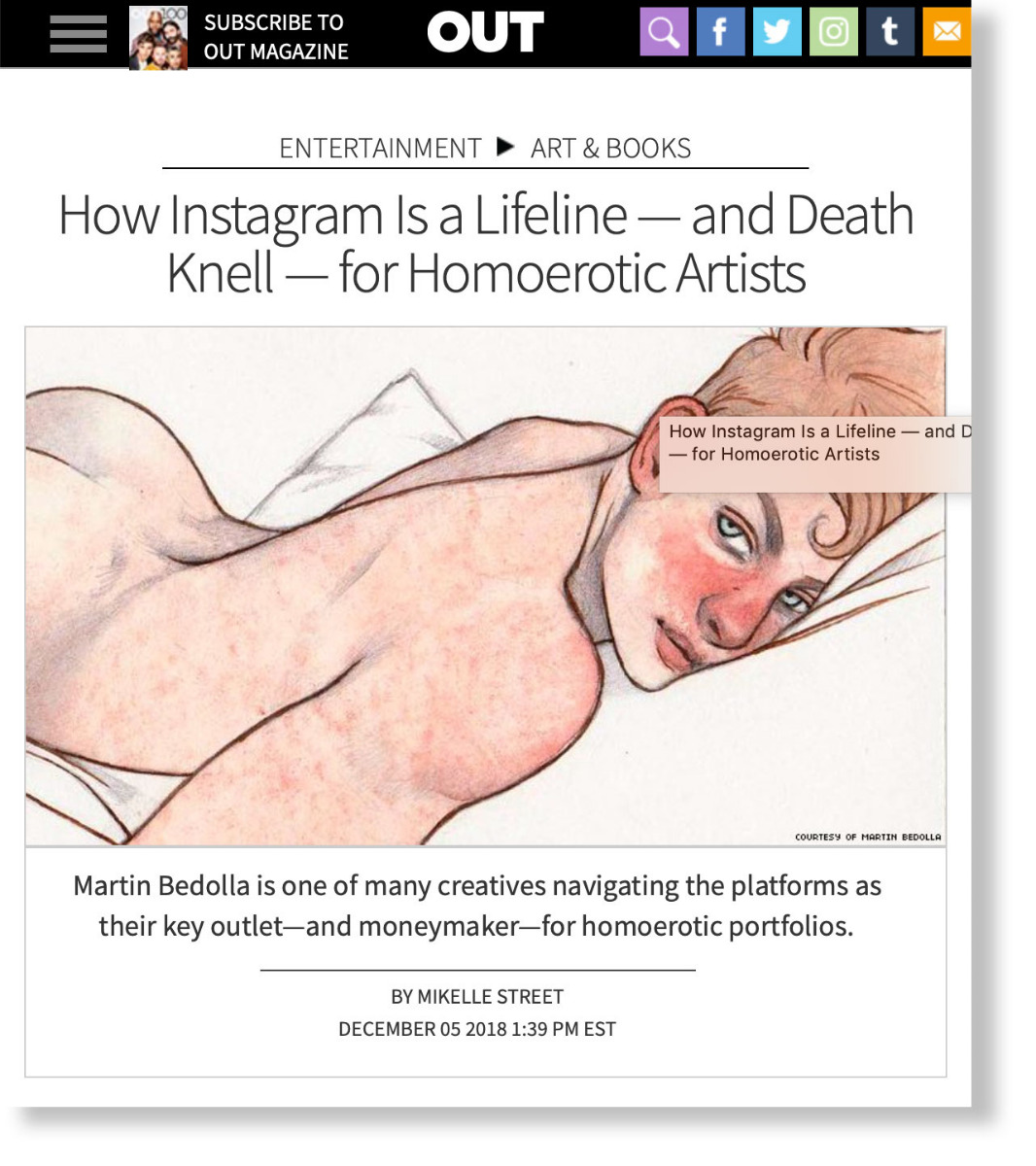 How Instagram Is a Lifeline — and Death Knell — for Homoerotic Artist