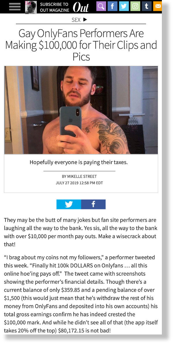 Gay OnlyFans Performers Are Making $100,000 for Their Clips and Pics