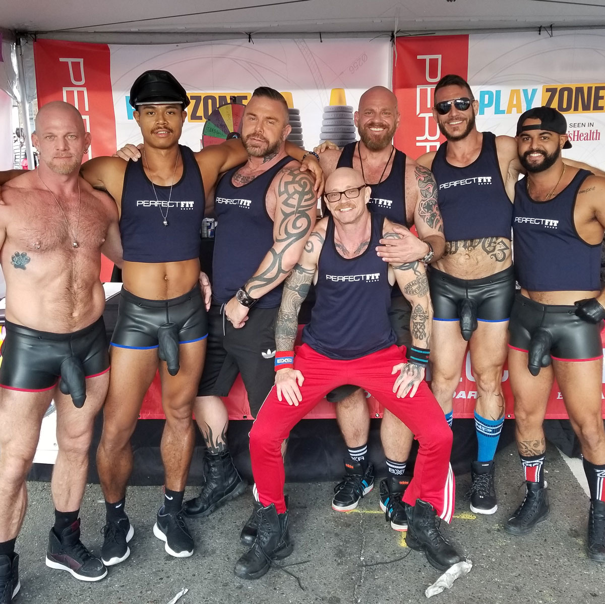 The Perfect Fit Brand booth gang at Folsom Street Fair
